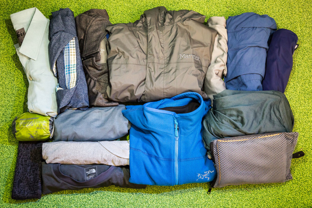 Packing upper layers for travel around the world.
