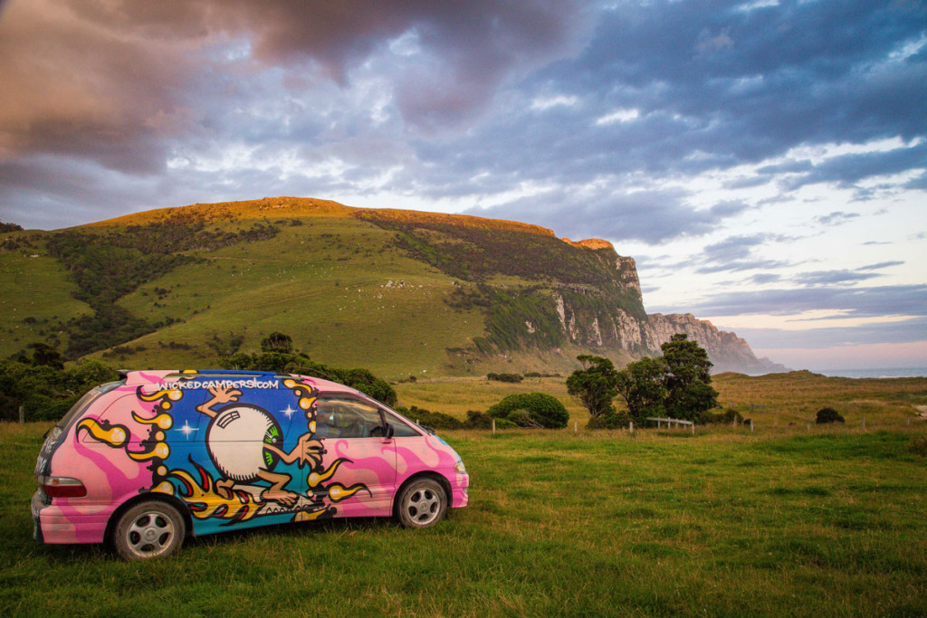 Our campervan at Purakaunui Bay