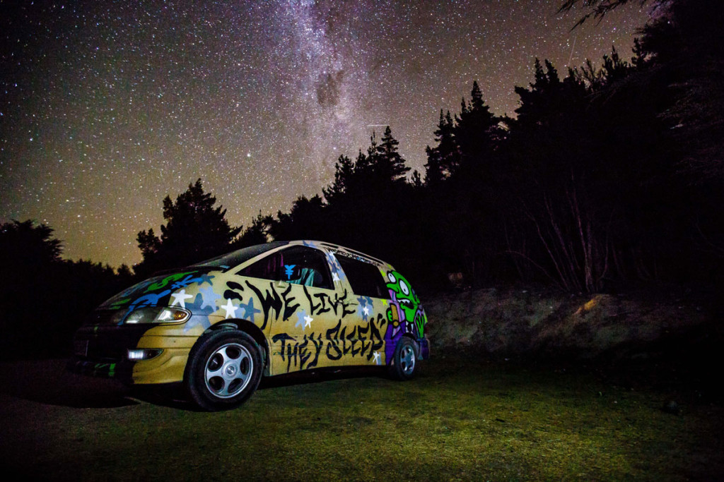 Our campervan and the Milky Way