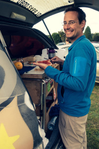 Sandwich time at our campervan